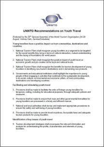 UNWTO Recommendations on Youth Travel
