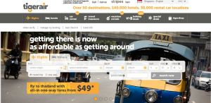 Tiger Air homepage 'Getting there is as affordable as getting around'